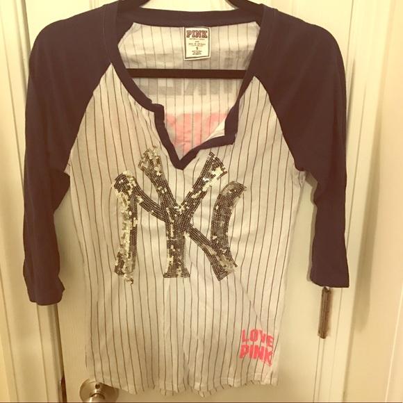 b0210036 PINK Victoria's Secret Tops | Sale Vs Pink Ny Yankees Navy Bling ...